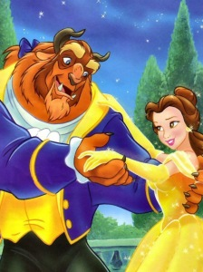 Belle from Beauty and the Beast with her yellow ball gown