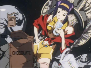 Faye Valentine from Cowboy Bebop and her skimpy yellow outfit