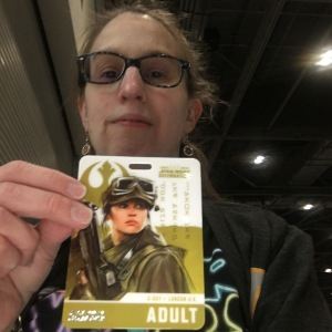 Everyday Fangirl, Patty, with her Star Wars Celebration Europe Badge