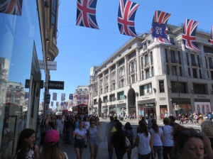 Many shoppers strolling down Oxford Street
