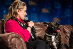 Carrie Fisher with her Dog Gary at Star Wars Celebration Europe in July 2016