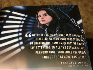 Quote from Actress Felicity Jones about making Rogue One
