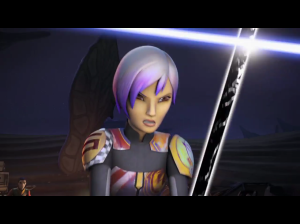 Sabine holding off Kanan with the Darksaber
