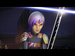 Sabine holding off Kanan with the Darksaber