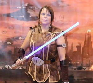 Jessie as Master Satele Shan (<i>Star Wars The Old Republic</i> era Jedi) at <i>Star Wars Celebration Anaheim</i>