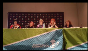 Presenting our panel at Emerald City Comic Con with (from Left) Tea-bery Blue, Myself, Julie Hegner from On Wednesdays We Wear Capes, Jessica Mason, contributing writer to The Mary Sue, my co-creator Lynn Zubernis author of Fangasm: Supernatural Fangirls.
