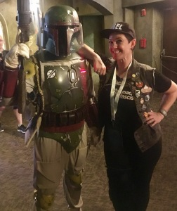 Annalise with Boba Fett in Orlando at the DisneyWord Galactic Nights event.